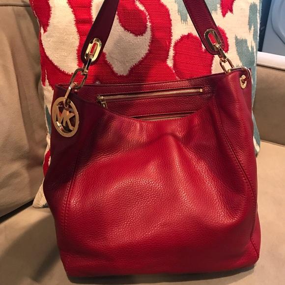 ad9ab8e4e460f3 Michael Kors Bags | Mk Red Leather Bag | Poshmark